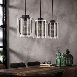 Suspension vintage 3 lampes en verre Christophe