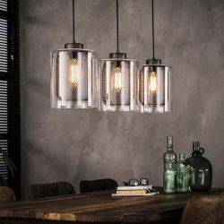 Suspension vintage 3 lampes en verre Christophe