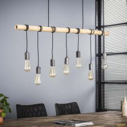 Suspension en bois 7 lampes suspendues Baptiste