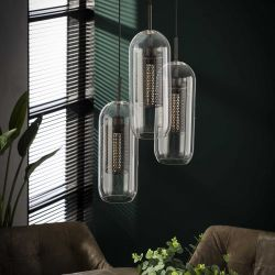 Suspension industrielle en verre 3 lampes Ø15 Daniel