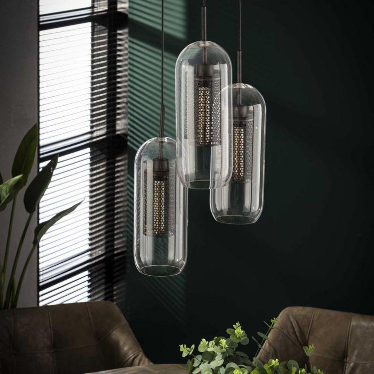Suspension industrielle en verre 3 lampes Ø15 Daniel