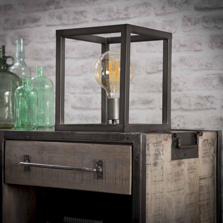 Lampe de table design en métal gris foncé Carla