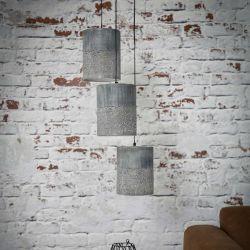 Suspension contemporaine étagée en métal coloris béton 3xØ20 cm Arold
