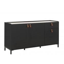 Buffet/bahut industriel 160 cm chêne/noir Magali