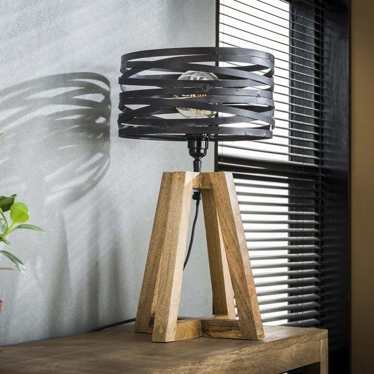 Lampe de table contemporaine en métal et bois Florian
