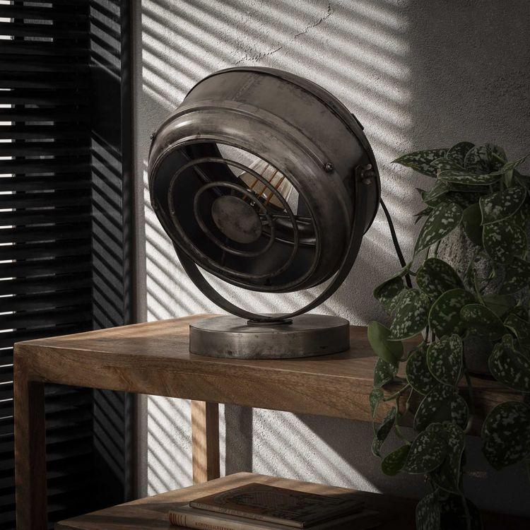 Lampe de table industrielle en métal argenté Romain