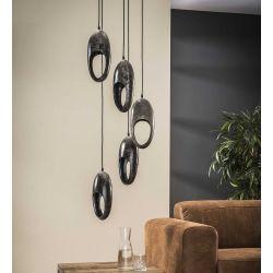 Suspension industrielle en métal gris 5 lampes étagées Ernest