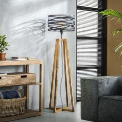 Lampadaire contemporain en métal et bois Florian