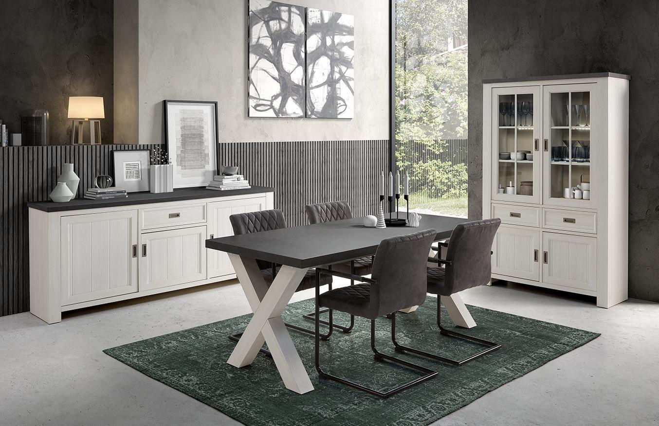 Salle à manger contemporaine blanc/gris béton Morzine