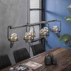 Suspension vintage en métal argenté 6 lampes Russel