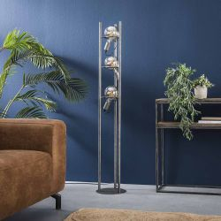 Lampadaire vintage en métal argenté 3 lampes Ø12,5 cm Calvin