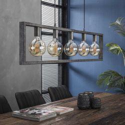 Suspension industrielle en métal argenté 5 lampes Adèle