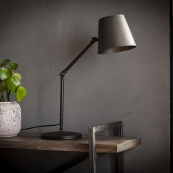 Lampe de table industrielle articulée en métal noir Damien