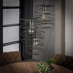 Suspension industrielle en métal noir 3 lampes étagées Aurèle