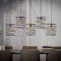 Suspension industrielle en métal noir 5 lampes Olivia