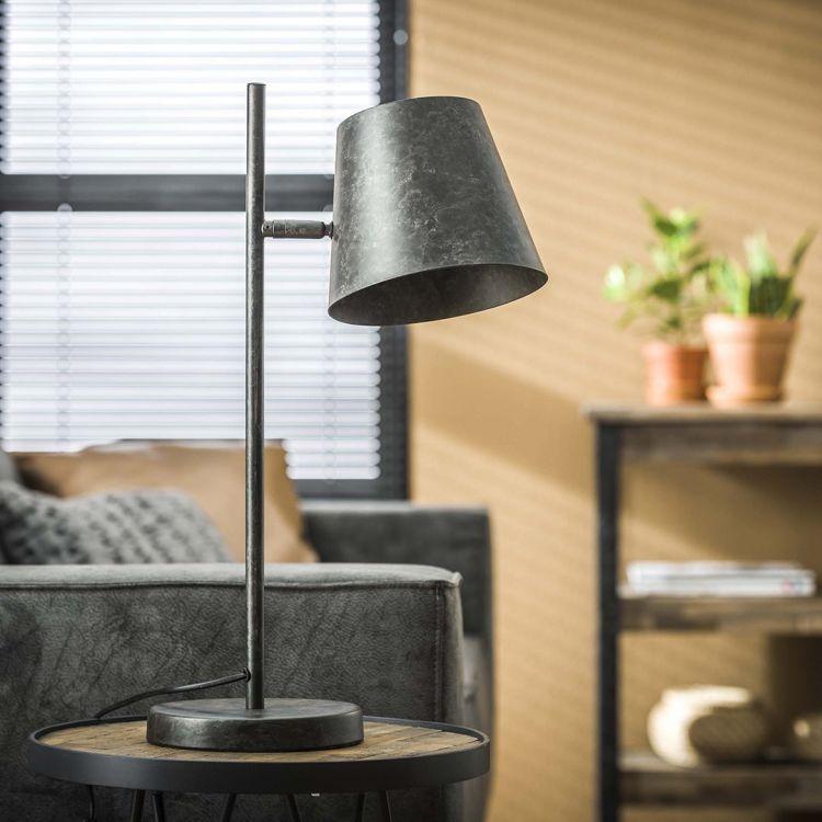 Lampe de table vintage en métal noir Lucien