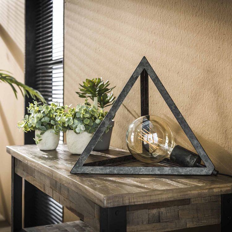 Lampe de table contemporaine en métal gris Pyramide