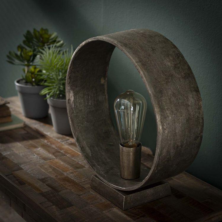 Lampe de table industrielle ronde en métal argenté Maelle