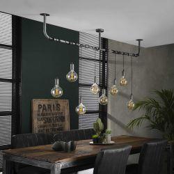 Suspension industrielle en métal argenté 8 lampes Julien