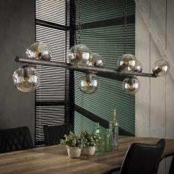 Suspension vintage en métal argenté 9 lampes Haylie