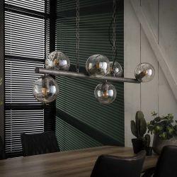 Suspension vintage en métal argenté 6 lampes Haylie