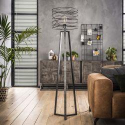Lampadaire industriel en métal noir Ø40 cm Aurèle