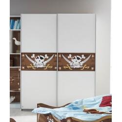 Armoire enfant contemporaine portes coulissante blanche avec décors Pirate Caraibes