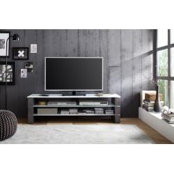 Meuble TV design gris béton/verre blanc Oceania