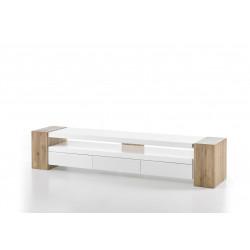 Meuble TV scandinave chêne/blanc mat Mia