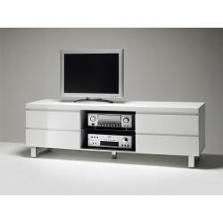 Meuble TV moderne blanc laqué Rodney