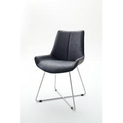 Chaise de salle à manger design tissu et PU (lot de 2) Anissa