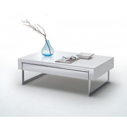 Table basse moderne blanc laqué Samourai