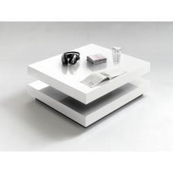 Table basse moderne pivotante blanc laqué Elysée