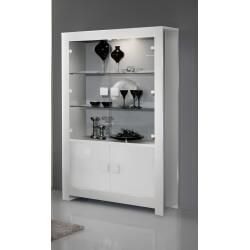 Vitrine 2 portes design laquée blanche Alba