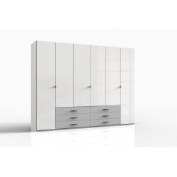 Armoire adulte contemporaine 273 cm blanc cassé/gris clair Shalma