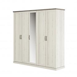 Armoire style campagne chêne blanchi/béton 230 cm Avoriaz