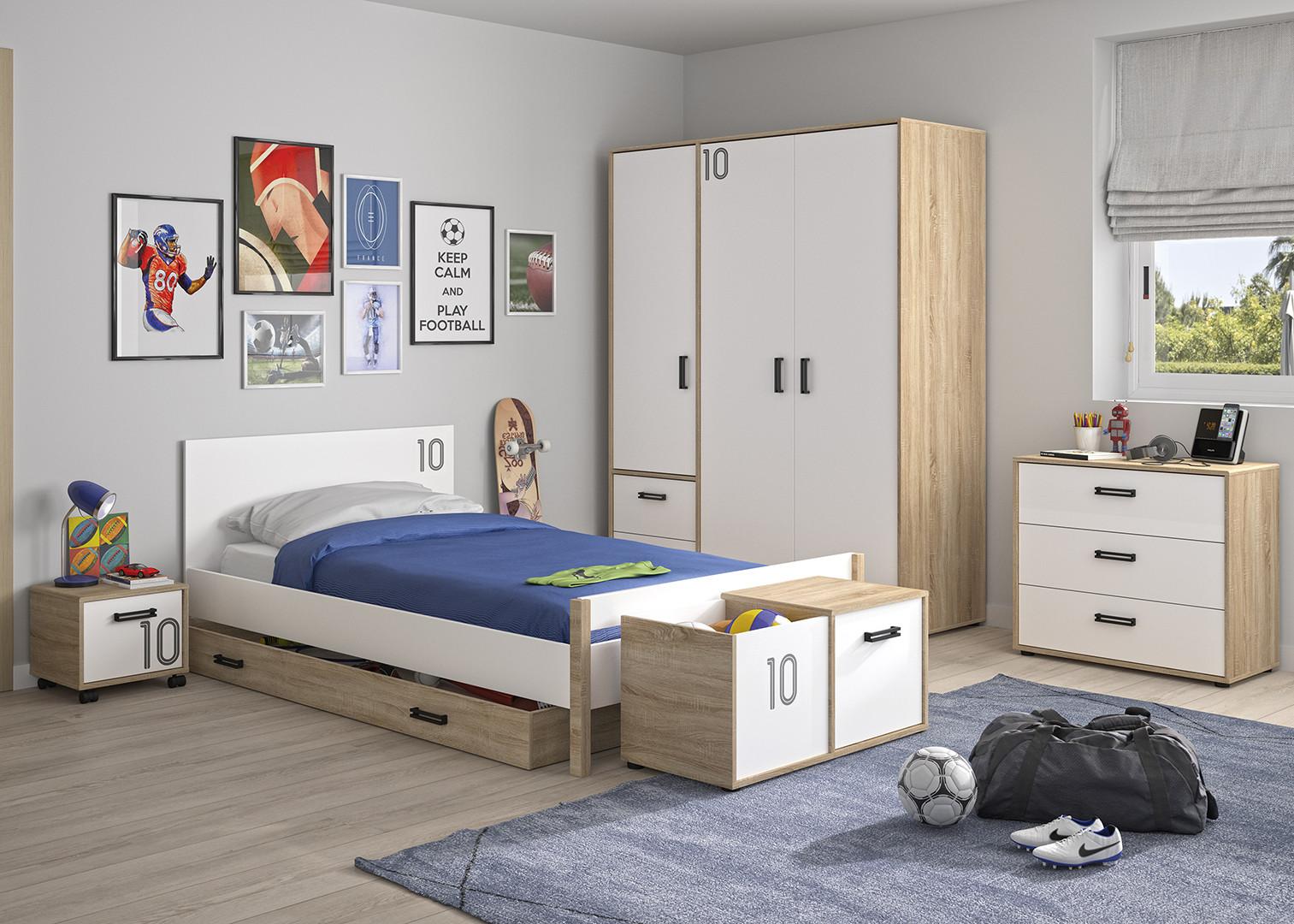 Chambre enfant moderne chêne/blanc Gabin