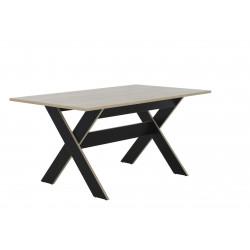 Table de salle à manger industrielle chêne clair/noir Maritza