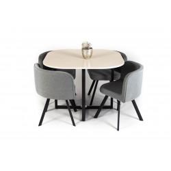 Ensemble table et 4 chaises design bois et métal Jonace