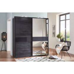Armoire adulte moderne anthracite/verre gris Cologne