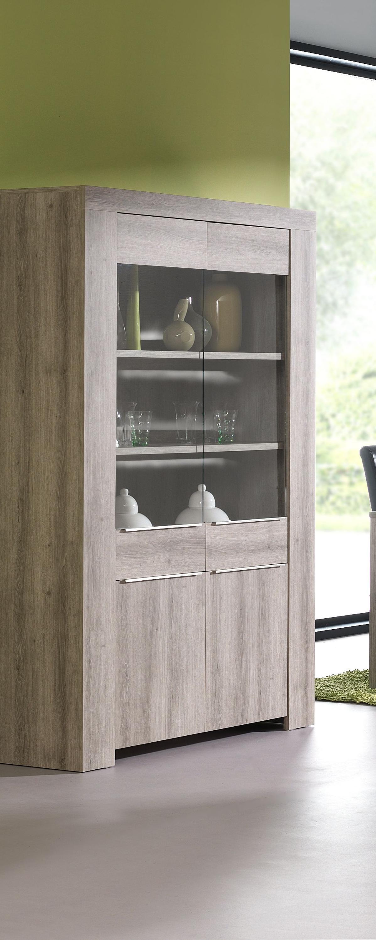 vaisselier argentier contemporain avec clairage ch ne mara flow. Black Bedroom Furniture Sets. Home Design Ideas