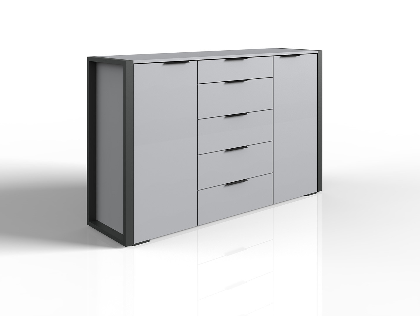 Commode moderne 148 cm gris/anthracite Viennes