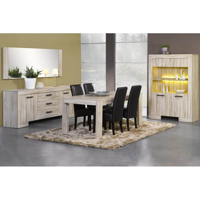 Table de salle manger contemporaine ch ne clair sydney matelpro - Table de salle a manger contemporaine ...