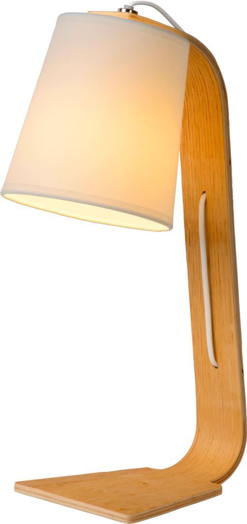 Lampe de table contemporaine en bois et tissu Christalline