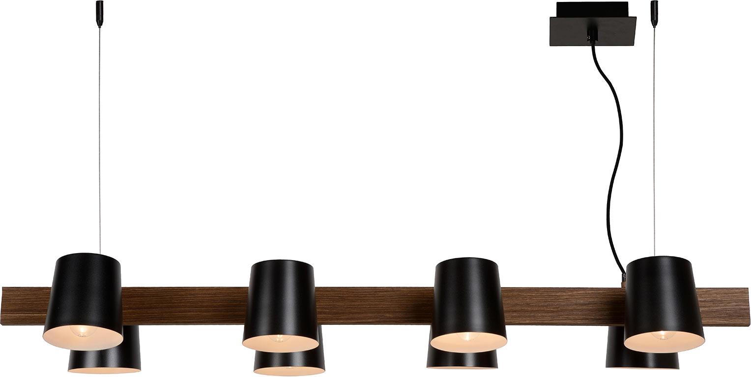 Suspension contemporaine 8 lampes bois et métal Hortense