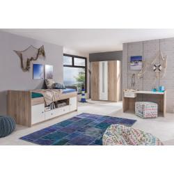 Chambre enfant moderne chêne/blanc Nylson