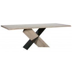 Table de salle à manger industrielle chêne/noir Mika