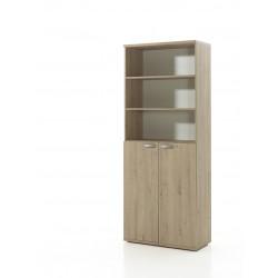 Armoire de bureau combinée contemporaine H 222 cm chêne clair Lania