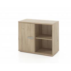 Armoire de bureau combinée contemporaine H 73 cm chêne clair Lania