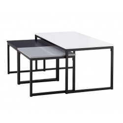 Tables basses industrielles blanc/noir/gris Palazio